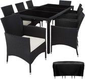 TecTake Wicker Valencia  tuinset - 8 stoelen en tafel - zwart