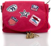 Canvas tas met patches - rood|blingdings