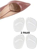 Set van 2 paar pads voorvoet – siliconen voetzool / inlegzool- one size - transparant