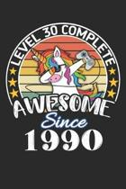 Level 30 complete awesome since 1990: funny dabbing unicorn retro vintage 30th Gamer Birthday Gift notebook / journal gaming lovers gift