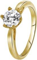 Lucardi - Eve - Goldplated ring solitair zirkonia