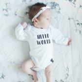 Wit newborn baby haarbandje kant met strik satijn   Wit   Baby