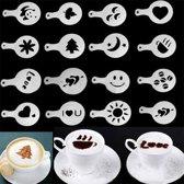 16-Delige Barista Tools Latte Art Set - Koffie / Cappuccino / Cacao Sjablonen