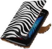 LG K10 Hoesje Zebra Bookstyle Wit