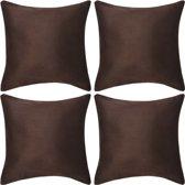 Kussenhoezen 4 stuks bruin imitatie suède 40x40 cm polyester