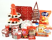 Kerstpakket - Kerst cadeau pakket - Kerst gift set met o.a. Led-kerstboomje-Dienblad-3 blikken en veel lekkere dingen