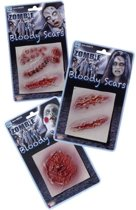 Littekens Zombie Halloween op kaart per stuk diverse modellen