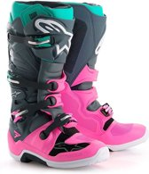 Alpinestars Crosslaarzen Tech 7 Limited Edition Indy Vice Gray/Pink/Turqoise-42 (EU)