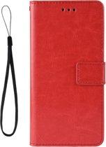 Mobigear Retro Texture Luxe Wallet Hoesje Rood Motorola One Vision