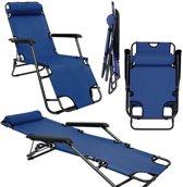 Kampeerstoel ligstoel ama-yu-85 donkerblauw 153x60 cm