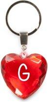 sleutelhanger - Letter G - diamant hartvormig rood