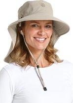 Coolibar UV zonnehoed Dames met gezichtsmasker - Beige - Maat Onesize