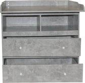 Commode ladekast babykamer aankleedtafel Pukkie uitklapbaar aankleed gedeelte grijs beton look