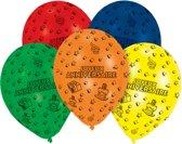 8 Latex Balloons Joyeux Anniversaire All Over Print 25.4 cm/10