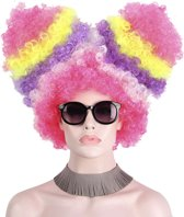 KIMU luxe suikerspin pruik roze afro staarten - clown regenboog eenhoorn
