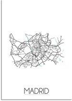 Plattegrond Madrid Stadskaart poster DesignClaud - Wit - A4 poster