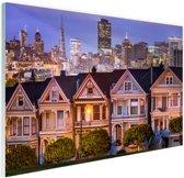 Huizen San Francisco Glas 90x60 cm - Foto print op Glas (Plexiglas wanddecoratie)