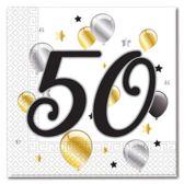 Servetten 50 jaar 20 stuks 33 x 33 cm