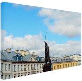 Standbeeld Warschau Canvas 60x40 cm - Foto print op Canvas schilderij (Wanddecoratie woonkamer / slaapkamer) / Steden Canvas Schilderij