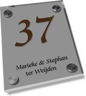 Naambordje voordeur een glashelder naambord zilver, 20x25cm
