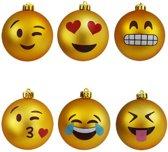 MikaMax Emoji Kerstballen ø 7,8cm Plastic - Set van 6