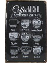 Retro Wandbord - Coffee menu bord – Koffie menu - Metalen bord - Emaille Reclame bord - Wandborden - Mannen cadeau - Mancave Decoratie - Garage - Bar - Cafe - Restaurant Style