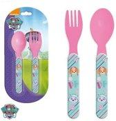 Paw Patrol kinderbestek roze vork met lepel 14 cm - Paw Patrol peuterbestek
