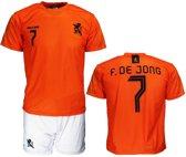 Nederlands Elftal Replica Frenkie de Jong Voetbal T-Shirt + Broek Set Oranje / Wit, Maat: XXL