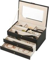 Treasury Draw Sieradendoos - Luxe Juwelendoos met spiegel - Opbergbox kunstleder - Zwart