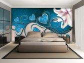 Fotobehang Papier Art | Turquoise | 254x184cm