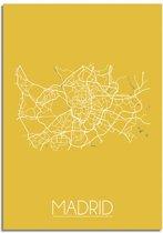 DesignClaud Madrid Plattegrond poster Geel A2 poster zonder fotolijst