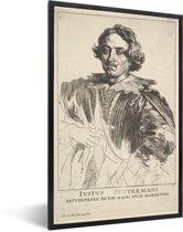 Foto in lijst - Portret van Justus Suttermans - Schilderij van Anthony van Dyck fotolijst zwart 40x60 cm - Poster in lijst (Wanddecoratie woonkamer / slaapkamer)