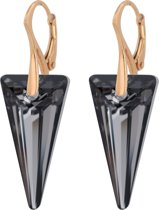 ARLIZI 0895 Oorbellen Swarovski Kristal Spike - Dames - 925 Zilver Roséverguld - 4 cm - Zwart
