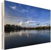 Schitterende horizon in Calcutta India Vurenhout met planken 120x80 cm - Foto print op Hout (Wanddecoratie)