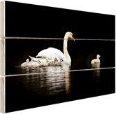 Zwaan met jongen Hout 30x20 cm - klein - Foto print op Hout (Wanddecoratie)