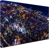 Manhattan vanaf boven bij nacht Canvas 30x20 cm - Foto print op Canvas schilderij (Wanddecoratie)