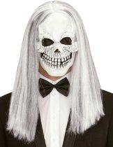 Skeletten masker met pruik voor volwassenen - Verkleedmasker