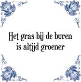 Tegeltje met Spreuk (Tegeltjeswijsheid): Het gras bij de buren is altijd groener + Kado verpakking & Plakhanger