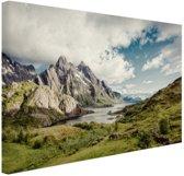 Berggebied Canvas 60x40 cm - Foto print op Canvas schilderij (Wanddecoratie woonkamer / slaapkamer)