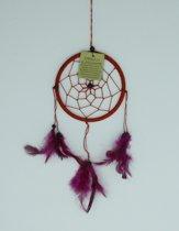 Dromenvanger / Dreamcatcher Ø12cm zonder kleintjes  - rood (roze veer)