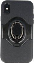 Shield TPU Hoesje met Ring Houder voor iPhone X Zwart
