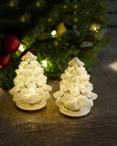 Sirius - Glazen kerstbomen met LED lichtjes - set van 2 stuks