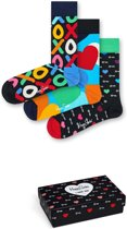 Happy Socks 3-Pack Giftbox Valentijn, I love You, Maat 41-46