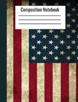 Composition Notebook: Distressed American Flag Lined Book.