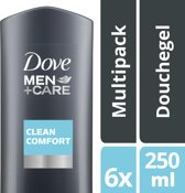 Dove Men+Care Clean Comfort - 6 x 250 ml - Douchegel - Voordeelverpakking