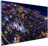 Manhattan vanaf boven bij nacht Glas 30x20 cm - Foto print op Glas (Plexiglas wanddecoratie)