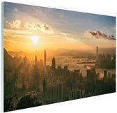 Hong Kong zonsondergang Glas 90x60 cm - Foto print op Glas (Plexiglas wanddecoratie)