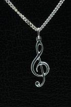 Zilveren Muzieksleutel ketting hanger - 3