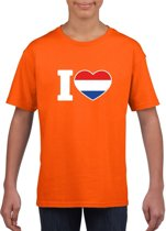 Oranje I love Holland supporter shirt kinderen - Oranje Koningsdag/ Holland supporter kleding XS (110-116)