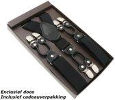 Sorprese – Luxe chique – heren bretels – zwart effen dessin - met zwart leer - 6 extra stevige clips